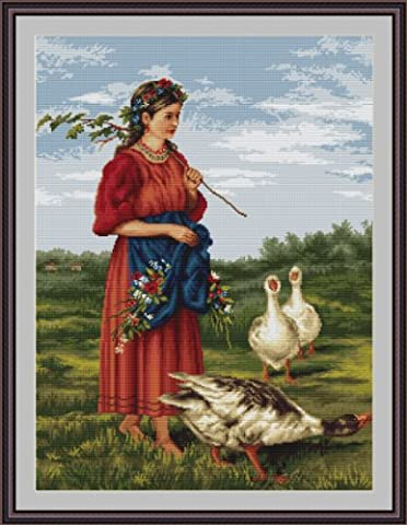 Luca-S Girl with Geese Counted Cross Stitch Kit