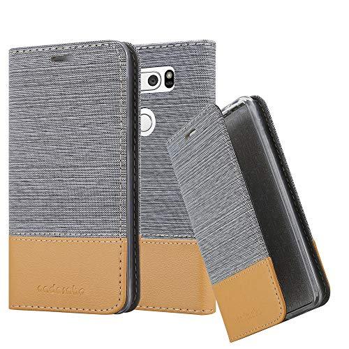 Cadorabo Hülle für LG V30 - Hülle in HELL GRAU BRAUN - Handyhülle mit Standfunktion & Kartenfach im Stoff Design - Case Cover Schutzhülle Etui Tasche Book