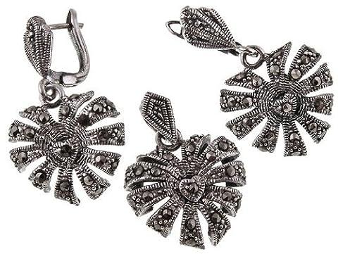 Bijoux de style Vintage en argent Sterling 925 en Forme de Coeur Boucles d'oreilles en marcassite Omega dos &Set Collier avec chaîne serpent Argent - 925/1000–Argent - 42 cm