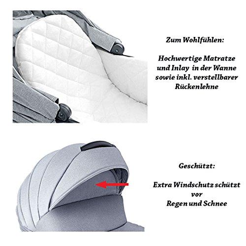 """16 teiliges Qualitäts-Kinderwagenset 3 in 1 Mikado """"COSMO"""": Kinderwagen + Buggy + Autokindersitz + Schwenkräder – Mega-Ausstattung – all inclusive Paket in Farbe (C-32)-SCHWARZ-GRAU-WEISS"""