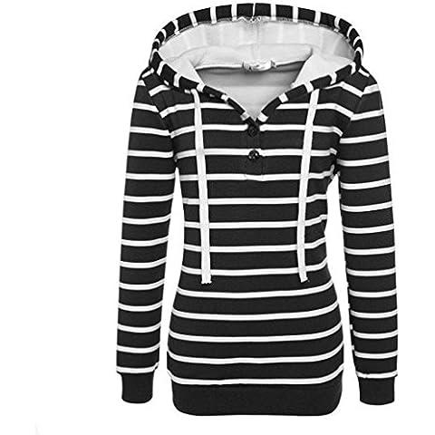 Koly_Donne a strisce allentato casuale cappotto manica lunga con cappuccio Felpa Jumper Pullover