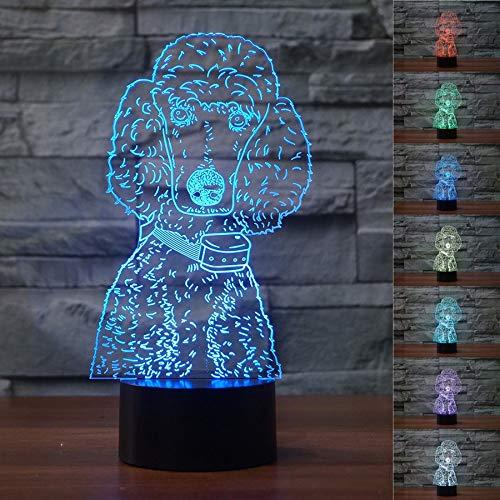 3D lampe Niedlichen Pudel 3D Formen Hund Schlafzimmer Dekoration Tischlampe LED Bunte Schöne Nachtlicht USB Schlaf Beleuchtung Kinder Brithday (Niedlichen Pudel)