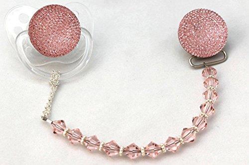 Preisvergleich Produktbild Crystal Dream Pink Glitzer Kristall Schnuller mit Kristallen und Perlen Schnuller Clip (gsgp-a-6m +)