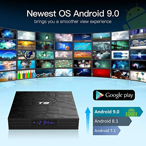 Android TV Box, T9 Android 9.0 TV Box 2 Go RAM/16 Go ROM RK3318 Quad-Core Support 2.4/5.0 GHz WiFi BT4.0 4K 3D HDMI DLNA Smart TV Box