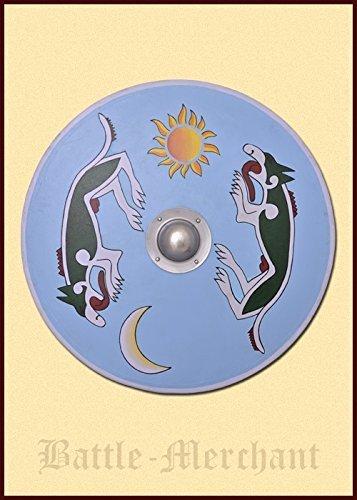 Los vikingos alrededor de escudo, pintada con managarm e Sköll - escudo - escudo Vikingo