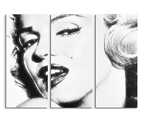 3x40x90cm (Gesamt:130x90cm) 3teiliges Bild auf Leinwand Marilyn Monroe Portrait Gesicht schwarz weiß Wandbild auf Leinwand als