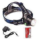 Ventdest LED Lampe Frontale Puissante, LED Frontale Lampe Étanche LED Lampes Frontales Rechargeables, XML-T6, 3 Modes, 2 Piles 18650 pour Peche Vélo Randonnée Course Camping