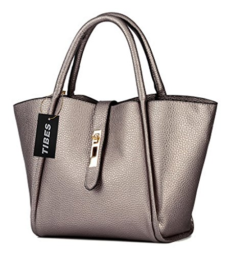Tibes modo della borsa in pelle sintetica e borsa 2 in 1 borsa Argento
