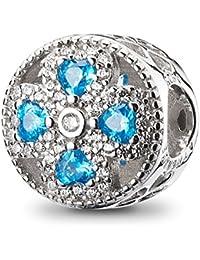 ATHENAIE plata de ley 925 cristales azules claro CZ Crystalized trébol de cuatro hojas encanto encajar todos los europeos pulseras collar