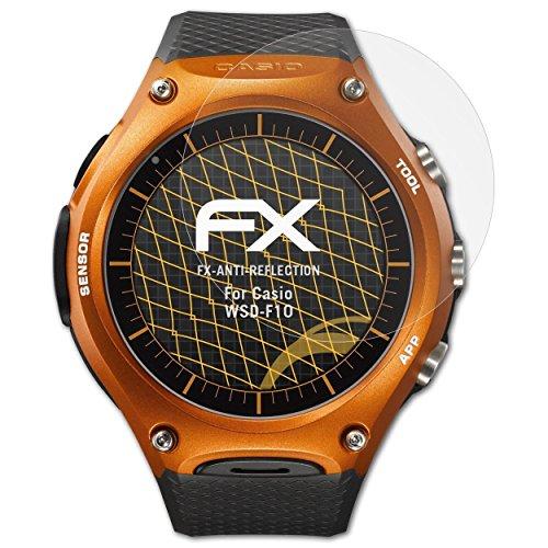 atFoliX Panzerfolie kompatibel mit Casio WSD-F10 Schutzfolie, entspiegelnde und stoßdämpfende FX Folie (3X)