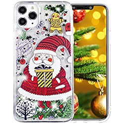MRSTER Noël Coque pour Samsung Galaxy S10+, Souple Bumper Housse Bling Glitter Liquide Paillette Protection Cover Christmas Clear Etuis Coque pour Samsung Galaxy S10 Plus. CH Green Santa Claus