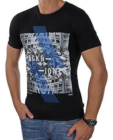 JACK & JONES Herren T-Shirt jcoEMILIO Print Rundhals Mehrfarbig Slim Fit und Oversize (L, Schwarz (Black Fit:SLIM))