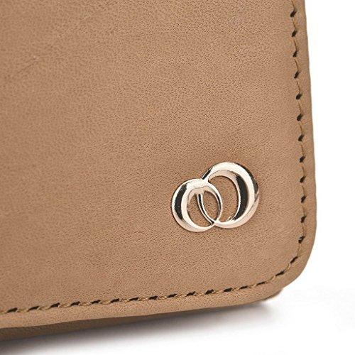 Kroo Pochette en cuir véritable pour téléphone portable pour épices Smart Flo 508(mi-508) noir - noir Marron - marron