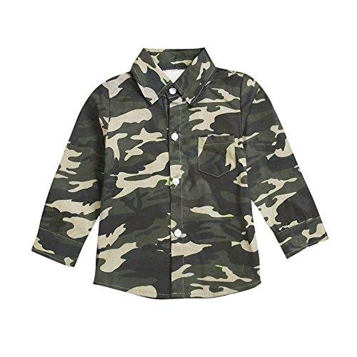 YanHoo Ropa para niños Niños Manga Larga Top Camisa de Camuflaje para niños Ropa de Blusa Camiseta de Manga Larga de Camuflaje para niños Camiseta de Manga Larga Sudaderas 1-5 Años