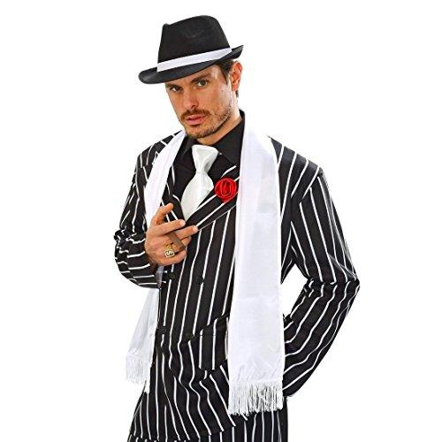 Kostüm Charleston Zubehör - 20er Jahre Satin Schal Mafia Schultertuch mit Fransen Gangster Tuch Edler Satinschal Charleston Fransenschal Charleston Kostüm Zubehör