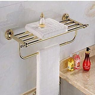 JJHR Auswind European Classical Flower Carving Round Base Gold Bathroom Accessories Wall Mount Antique Polished Bathroom Hardware Set