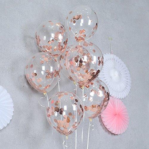 FindFun - Globos de confeti para decoración de fiestas, 12 cm, color oro rosa