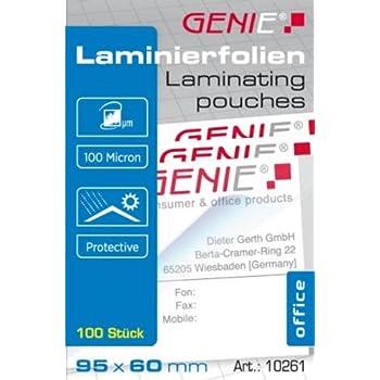 Genie 10261 Laminierfolien 100 Mikron Für Bis Zu Visitenkarten Formate 95 X 60 Mm 100er Pack Glasklar