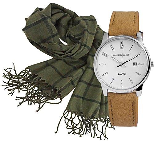 Geschenk Set Damen Herren Elegante Unisex Italienisches Design Armbanduhr silber mit weichem Winter Herren Schal Farbe oliv mit angenehmer Trageeigenschaft (Seide Italienischer Schal)