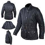Textile Blouson Femme Coton Ciré Moto Sport Scooter Protections Noir XS