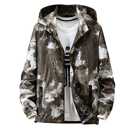Tosonse Hoodie Herren Herbst Casual Camouflage Printing Plus Size Hoodie Hut Abnehmbare Dünne Lederjacke Mantel