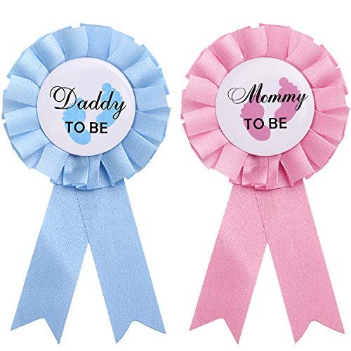 WILLBOND 2 Stücke Daddy and Mommy to Be Weißblech Abzeichen Nadel Geschlecht Knopf Nadel Neue Papa Mama Geschenke für Baby Dusche Party Feier, Rosa und Blau (Erinnerung Baby-dusche)