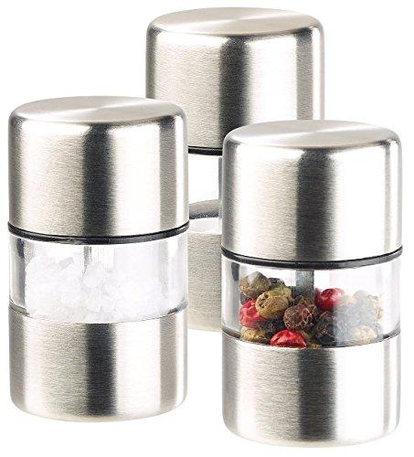 PEARL Mühle: Mini-Salz-/Pfeffermühle, Edelstahl, Keramikmahlwerk, 3er-Set (Salzmühlen)