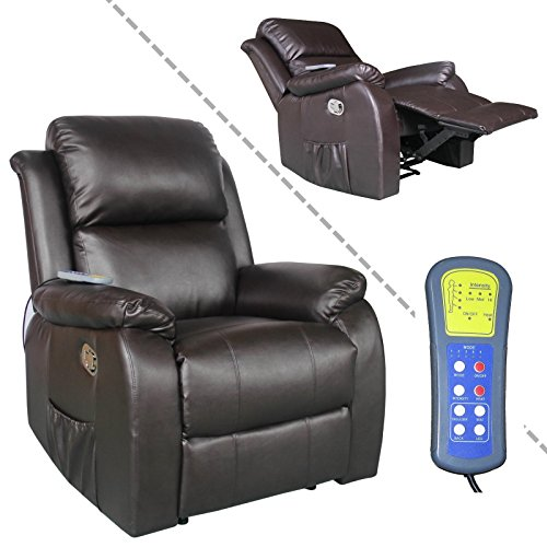 Fernsehsessel mit Massage, Heizung und Liegefunktion Kunstleder braun (Schlaf-massage-stuhl)