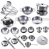 Winni43Julian Kochgeschirr Kinder Metall, 32 Stück Kinderküche Zubehör Set, Spielküche Zubehör Töpfe, Topf Spielzeug, Küchenspielzeug, Topfset Kinderküche, Kinder Kochtopfset