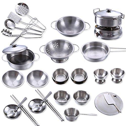 für Kinderküchen, Geschirr Set aus Metall Kochutensilien Kochen Spielzeug Töpfe und Pfannen Zubehör Spielgeschirr Size 32 Stück ()