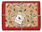 "4x Geschenkpapier Weihnachten: hochwertige, beidseitig bedruckte Bögen Weihnachtsgeschenkpapier""Moderne Ornamente"" + 4x Anhänger im Set (rot, braun, grün, Kraftpapier, Recycling-Papier)"