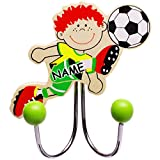 alles-meine GmbH 1 Stück _ Garderobenhaken -  Fußball Spieler / Fußballer - GRÜN  - incl. Name - aus Holz & Metall - Doppel Wandhaken / Kindergarderobe mit 2 Kleiderhaken - ..