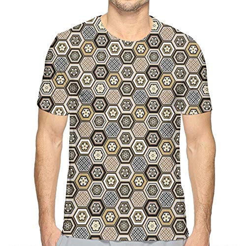 3D Printed T Shirts,Victorian Damask Baroque Hexagon Rococo Interlocking Abstract Design XL -