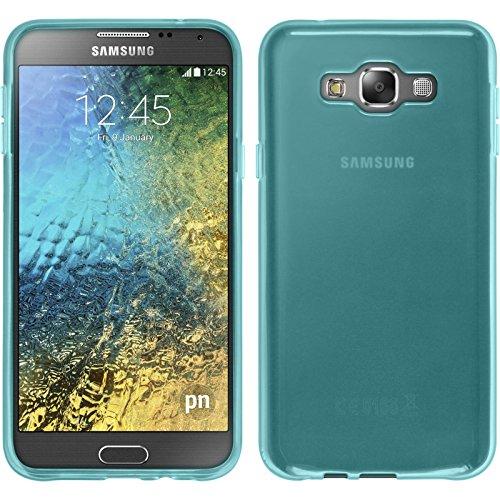 PhoneNatic Case kompatibel mit Samsung Galaxy E7 - türkis Silikon Hülle transparent + 2 Schutzfolien
