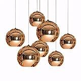 Cwill Moderne Kunst Globus Pendelleuchte Goldene Kupfer Spiegelglas Kugel Lampenschirm Pendelleuchte Küchentisch Leuchten, silber 35 cm