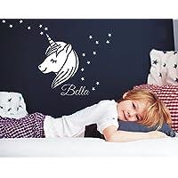 Wandaufkleber Wandtattoo Einhorn mit Sleepy Eyes, 18 Sternen + Wunschname Wandsticker Sticker Wanddeko Kinderzimmer Baby Mädchen Unicorn Möbelaufkleber Türaufkleber