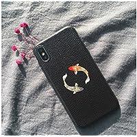 Preisvergleich für OVVO Einzigartiges Desigh Kreative Tier Fisch Muster Telefon Fall Relief Liebhaber Soft Phone Shell für iPhone X (Zwei Fische)