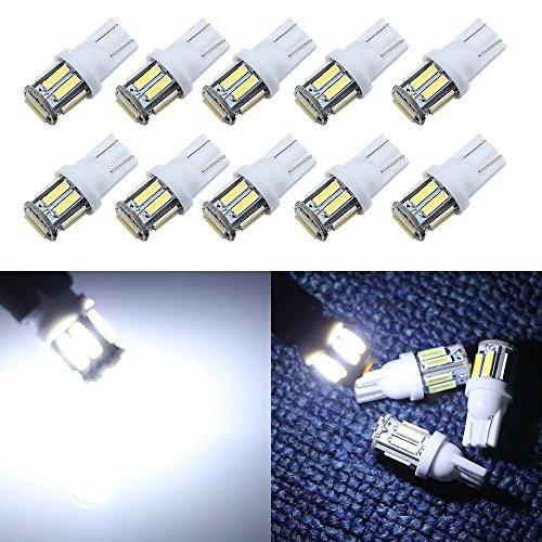 Grandview T10 weiß W5W 194 168 921 LED 7014 10-smd LED-Innenlichter Glühlampe für Auto Ersatz Lichter Trunk Nummernschild Seite Marker lightpack von 10 (194 Twist-lock)