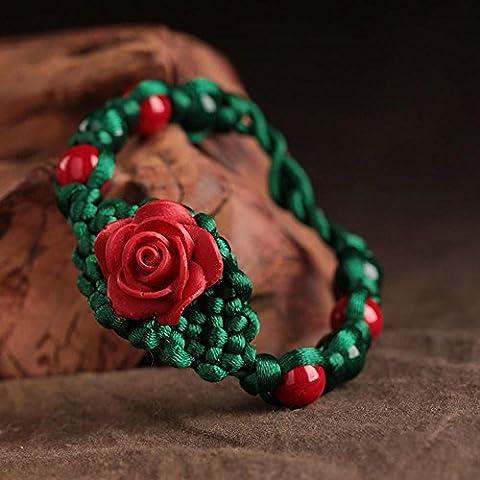OUYANG Cinese nodo braccialetto rosso lacca intaglio per le donne , 19cm