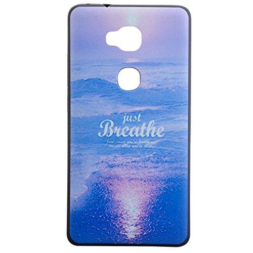 Honor 5X Custodia Silicone,Huawei Honor 5X Cover,Asnlove Custodia TPU Gel Silicone Stilosa Silicone TPU Case Back Shell Cover Posteriore di Morbido per Huawei Honor 5X Smartphone Designo Mare Blu