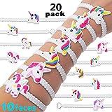 Feidiao Einhorn Gastgeschenke Einhorn Schlüsselanhänger Armband Set Anhänger für Tasche und Schlüssel, Einhorn Geburtstagsfeier Gefälligkeiten für Kinder Mädchen, Emoticon Spielzeug (20 Armband)