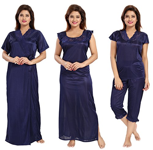 Noty - Women's Satin Nighty - 4 Pc set- Nighty/Robe/Top/Capri (Navy Blue)