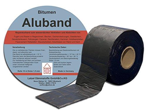 Preisvergleich Produktbild Bitumen Aluband Reparaturband Dichtband Farbe Schwarz 100 mm - Rolle 10 Meter