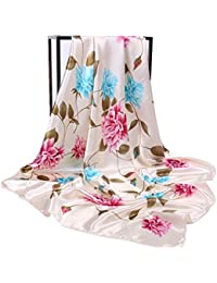 HIDOUYAL Grand Foulard 90x90cm Satin Imprimé Fleurs Plumes Multicouleurs 16a7a7d14a1
