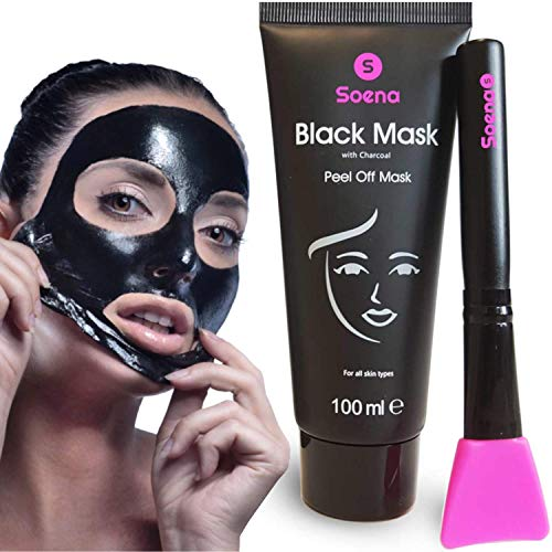Das ORIGINAL - SOENA® Black Mask + MASKENPINSEL | XXL Tube 100 ml | Entfernt Mitesser - Peel-Off Maske - Gegen unreine Haut | Mit Aktivkohle | Schwarze Maske zum abziehen - Blackhead Maske