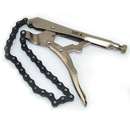 nuzamas 22,9cm Kette Klemme Vise Stahl Zange Feststellzange Grip Schlüssel Ölfilter Rohrabschneider Schraubstock (Kette 45,7cm lang)