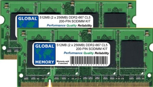 667mhz Ddr2 512mb Sodimm Notebook (GLOBAL MEMORY 512MB (2 x 256MB) DDR2 667MHz PC2-5300 200-PIN SODIMM ARBEITSSPEICHER RAM KIT FÜR NOTEBOOKS)