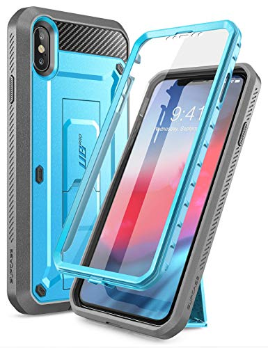 Supcase iPhone XS MAX Funda 360 Degree Funda iPhone XS MAX Exterior Resistente [Unicorn Beetle Pro] con Protector de Pantalla Integrado y Soporte para iPhone XS MAX (6.5') 2018 (Azul)