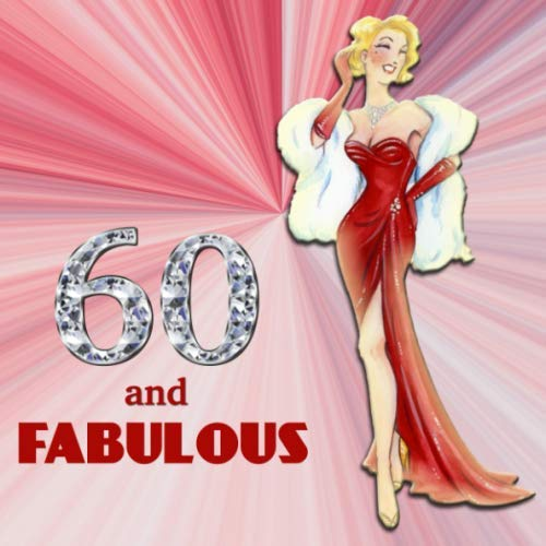 60 and Fabulous: Retro Blonde Bombshell Design 60th Birthday Guest Book for Women - Red &Diamond Sign In Book - Vintage Style Fiftieth Bday Party ... Name and Address - Square Size  8.25 x 8.25