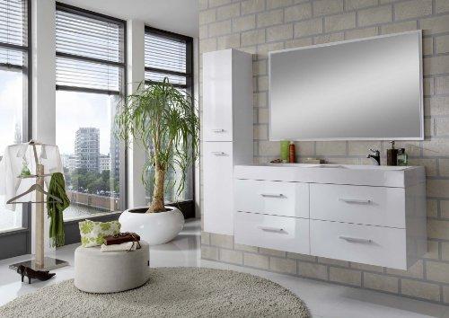 SAM Design Badmöbel-Set Hilo, Hochglanz weiß, 120 cm Badmöbelset mit Softclose-Funktion, Badezimmerblock bestehend aus 1 Hochschrank, 1 Spiegel, 4 Schubladen, Doppel-Waschbecken (Doppel-waschtisch-waschbecken-schränke)